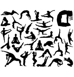 silhouettes of yoga vector image vector image
