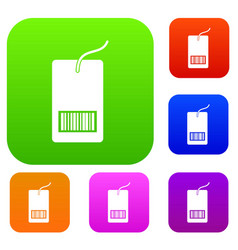 tag with bar code set collection vector image
