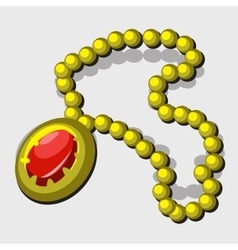 Vintage jewelry with yellow beads and red pendant vector image
