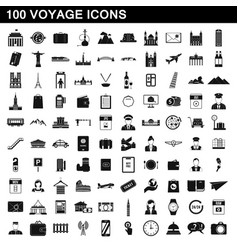 100 voyage icons set simple style vector image