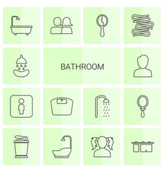 14 bathroom icons vector