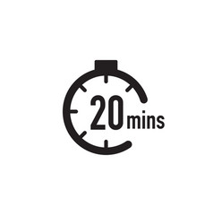 20 minutes timer stopwatch or countdown icon time vector