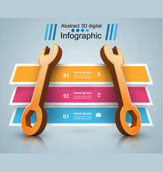 3d wrench - business infographic vector image