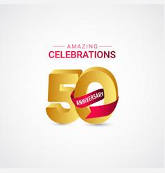 50 years anniversary amazing celebration gold vector