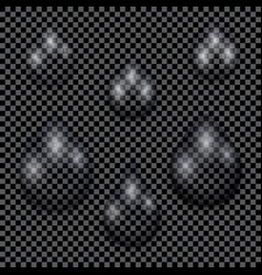 A set of transparent water drops on dark checkered vector