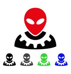 Alien engineer flat icon vector