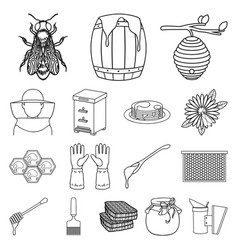 apiary and beekeeping outline icons in set vector image