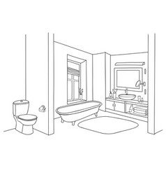 Bathroom interior sketch room view doodle drawn vector
