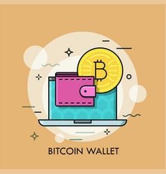 bitcoin wallet thin line concept vector image