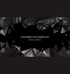 black and white polygonal background vector image