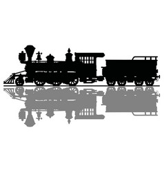 Black silhouette of an old steam locomotive vector