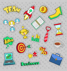 business idea comic stickers patches badges vector image