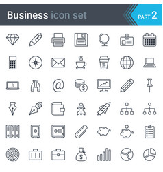 business simple thin icon set vector image