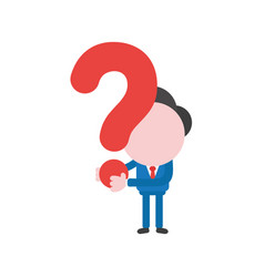 businessman character holding question mark vector image