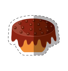 Cake chips chocolate dessert shadow vector