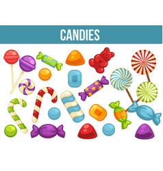 Candies sweets and confectionery comfits caramel vector