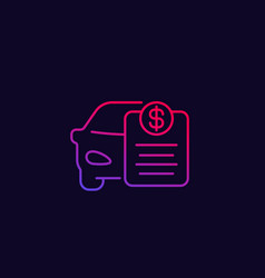 Car payments loan thin line icon vector
