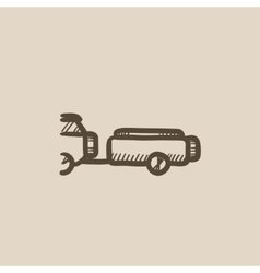 Car with trailer sketch icon vector