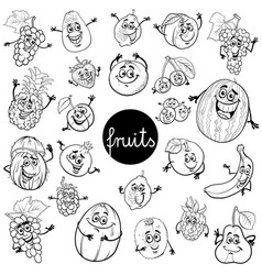cartoon fruits characters set color book vector image
