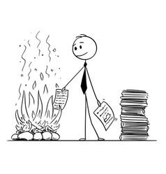 Cartoon of businessman or clerk burning paper vector