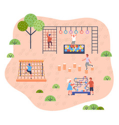 children on playground modern kindergarten vector image
