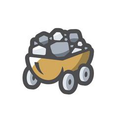 coal wagon ore cart icon cartoon vector image