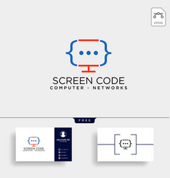 code programming monitor simple logo template vector image