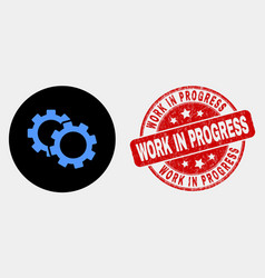 cogs icon and grunge work in progress vector image