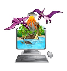 Computer screen with dinosaurs in the lake vector