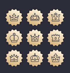 crowns line icons royalty king monarch vector image