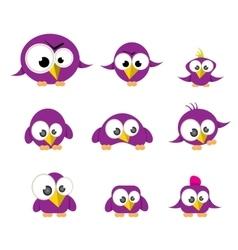 Cute birds collection vector