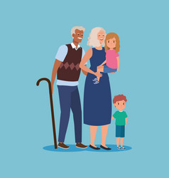 Cute grandparent with girl and boy kids vector