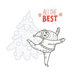 dancing santa claus and fir-tree vector image