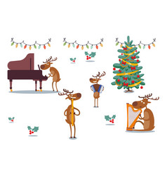 deers character musical band at holidays vector image