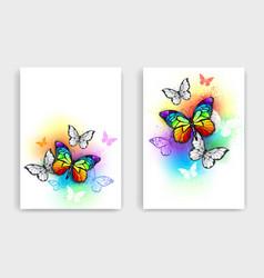 Design with rainbow butterflies vector