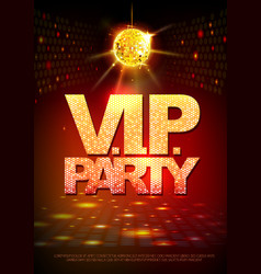 disco ball background disco poster vip party vector image