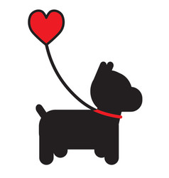 dog and heart vector image