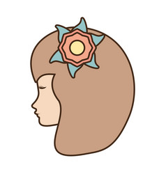 female face profile character with flower vector image