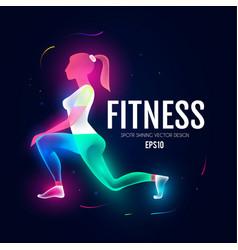 Fitness girl sport and ads logo shining design vector