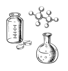 Flask bottle pills and molecular model sketch vector