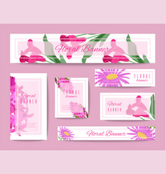 floral set of banners for flower shops or vector image