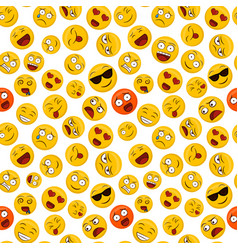 fun emoticon seamless pattern yellow smiley face vector image