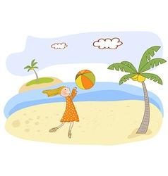 girl play ball on the beach vector image