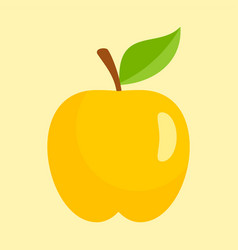 gold apple icon flat style vector image