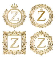golden letter z vintage monograms set heraldic vector image