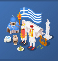 Greece isometric blue background vector