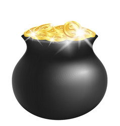 Green pot with shiny gold vector
