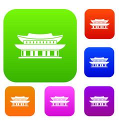 Gyeongbokgung palace seoul set collection vector