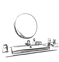 Hand drawn bathroom interior mirror washbasin vector