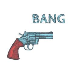 hand drawn vintage revolver gun firearm pistol vector image